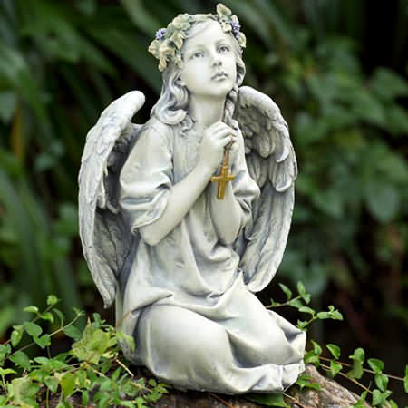 Heavenly angel with cross statue for Praying angel plant