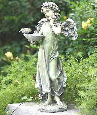 Large Angel Girl With Feeder Statue