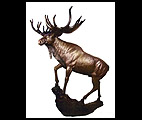 Life Size Bronze Moose on Rock Statue