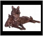 Bronze Mother Wolf with Pup Sculpture