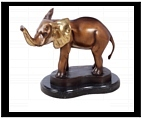 Little Bronze Elephant with Raised Trunk
