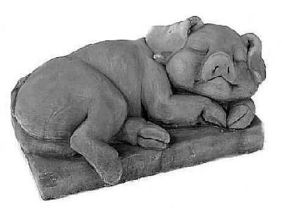 Sleeping Pig Figurine and Statue