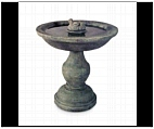 Fluted Bird Bath with Bird Sculpture