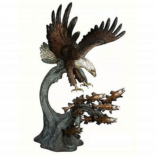 Flying Eagle Rising Above Waves Bronze Sculpture