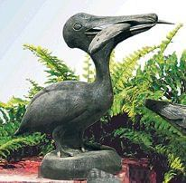 Pelican Statue with Fish