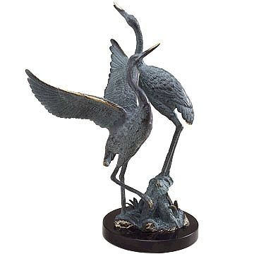 Pair of Brass Crane Statue on Marble Base