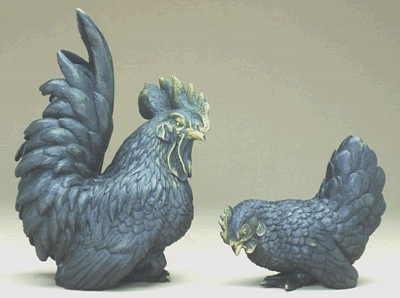 Bronze Rooster and Hen