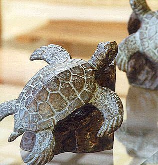 Marine Turtle Brass Bookends