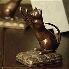 Set of Brass Cat Bookends