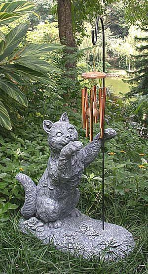 Large Cat with Windchimes Statue and Sculpture