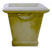 Small Estate Square Planter with Shell Accents, stone garden pots