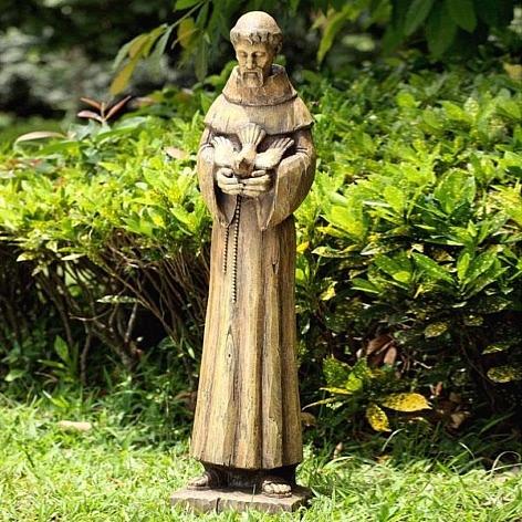 Large Saint Francis Garden Sculpture With Dove
