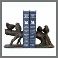 Explore our bookends catalog for decorative and architectural bookends such as the fleur de lis bookends, rooster themed bookends and a selection of animal bookends such as cat bookends, dog bookends, horse bookends and unique bookend gifts that do well as corporate gifts for the executive person.
