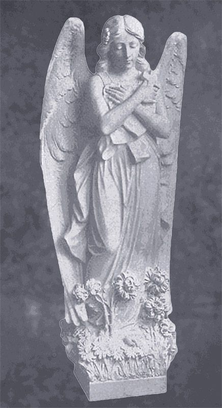 Angel With Cross In Marble Sculpture