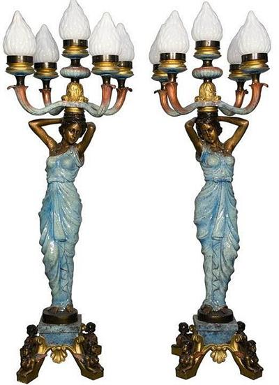 Ladies of the Night Lamp Statues