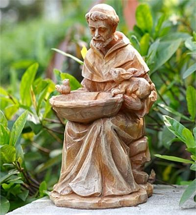 Saint Francis with Bowl Bird Feeder