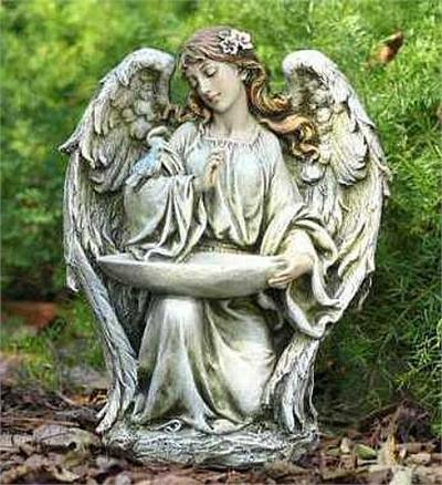 Graceful Angel with Bird Sculpture