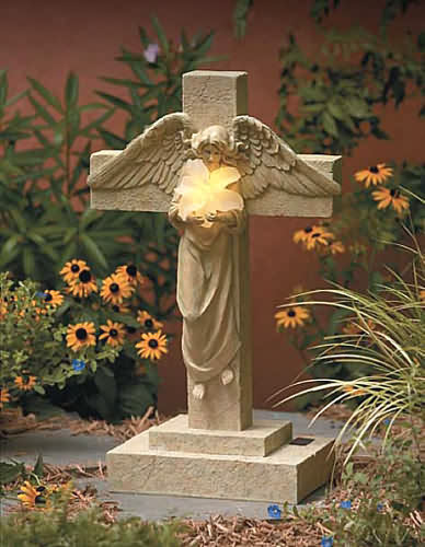 Heavenly Lily Angel Solar Statue