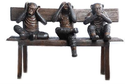 Bronze Three Wise Monkeys Set