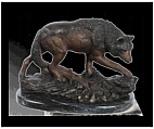 Bronze Wolf Sculpture