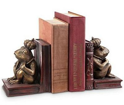Frog Prince Bookends with a Book