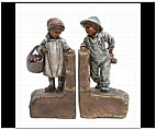 Country Farm Boy and Girl Bookends