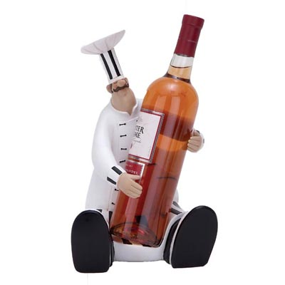 Sitting Baker Chef Wine Bottle Holder