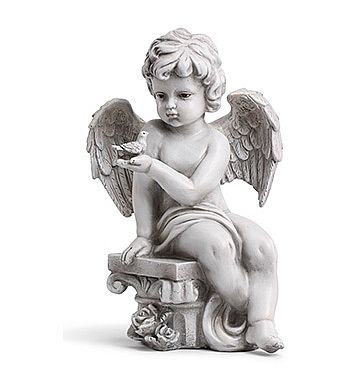 Cherub Talking to Bird Statue