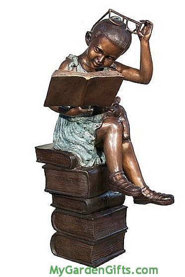 Reading Girl With Book Sculpture