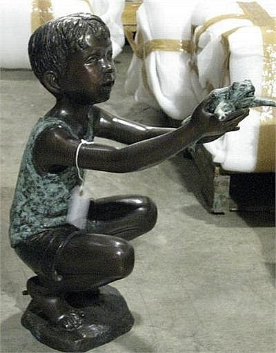 Little Garden Boy with Frog Fountain Statue