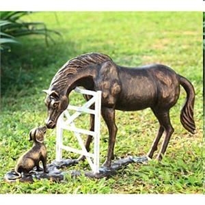 A Horse Meets a Dog Friend Sculpture