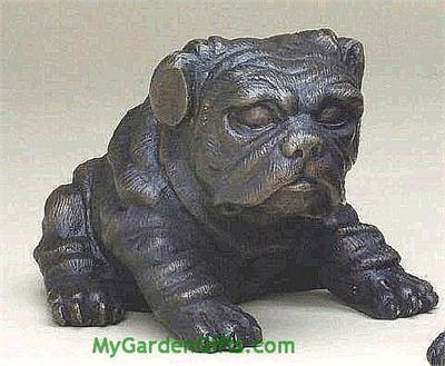 Bronze Sitting Bulldog in Crouching Mode