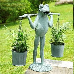 Frog Sculpture and Garden Planter