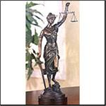 Tabletop Brass Blind Justice Sculpture