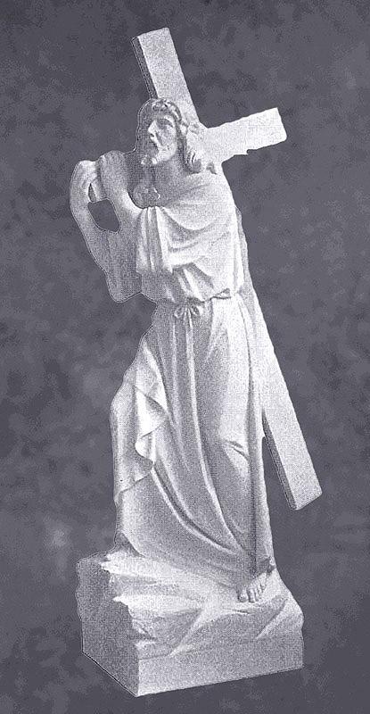 Jesus Carries Cross Sculpture In Granite Sculpture