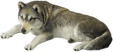 Lying Wolf Garden Statue