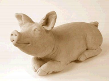 Lying Down Pig Statue In Concrete