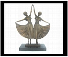 Bronze Art Deco Dancing Sisters