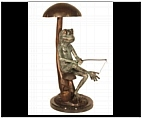 Frog Out to Fish - Bronze