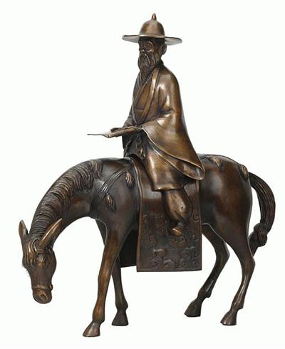 Traveling Chinese Teacher on His Horse - Bronze Sculpture