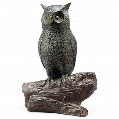 Hooting Owl Sculpture with Bluetooth Speaker