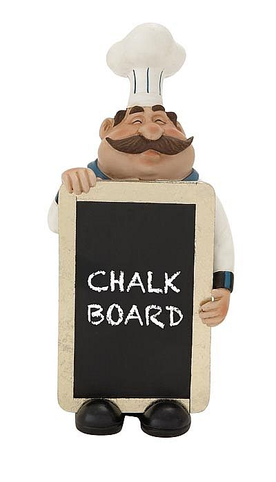 Happy Chef Statue with Chalkboard