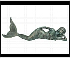 Mermaid Sculpture - Lying Down in Green Finish