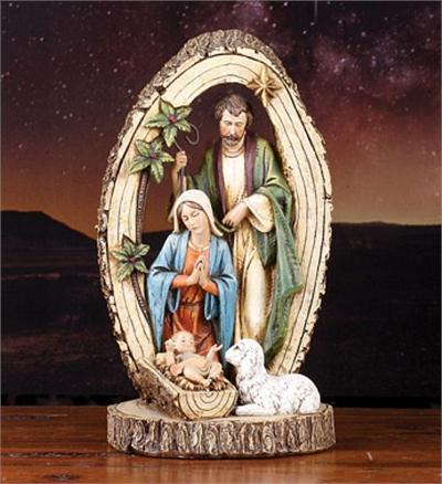Holy Family with Lamb Sculpture